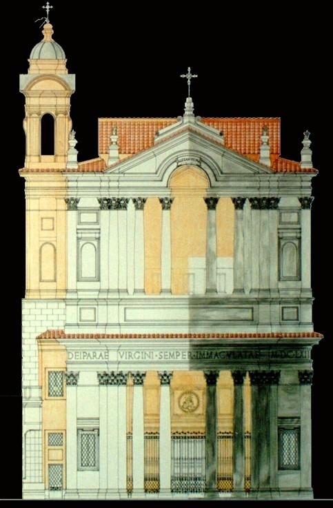 Roma, Chiesa di Santa Maria in Via Lata, Bouwtekening gevel (internet)