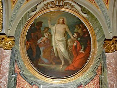 Roma, Chiesa di Santa Maria in Via Lata, Ingangsgevel links, Verrezen Christus verschijnt aan de apostelen (internet)