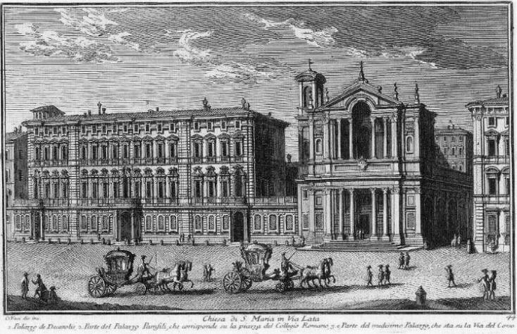 Chiesa di Santa Maria in Via Lata (rechts) en het Palazzo Doria Pamphili (links) in 1750 *