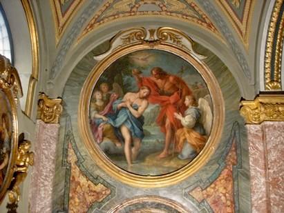 Roma, Chiesa di Santa Maria in Via Lata, ingangsgevel, Masucci, Doop van Christus (internet)