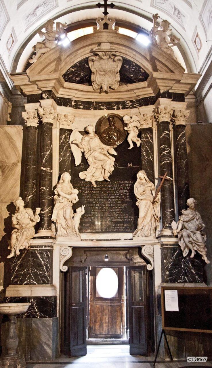 Roma, Chiesa di Santa Maria sopra Minerva, Vestibolo, Rainaldi en leerlingen, Monu- ment kardinaal Carlo Bonelli