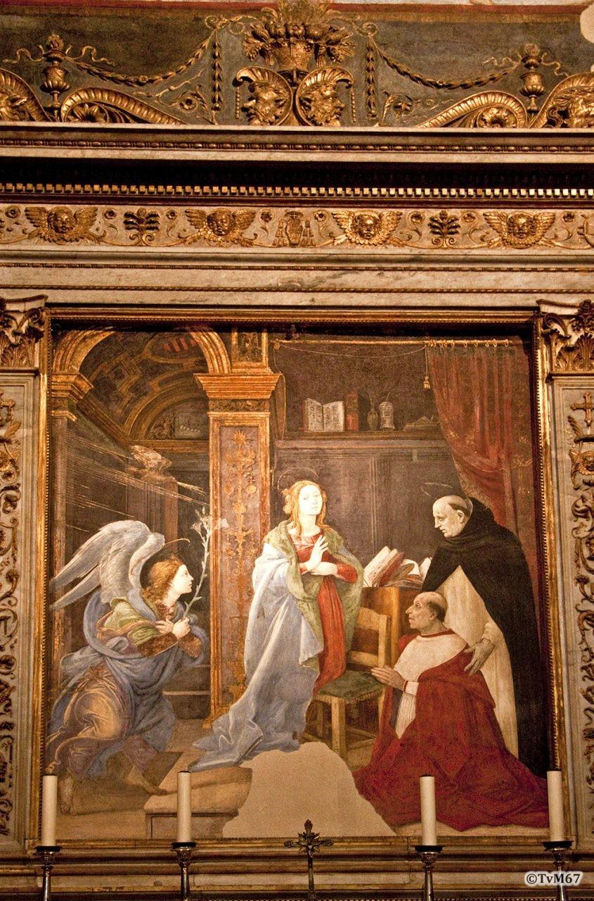 Roma, Chiesa di Santa Maria sopra Minerva, trans re, Cap Carafa, Achterwand onder, Annunciatie, 2009