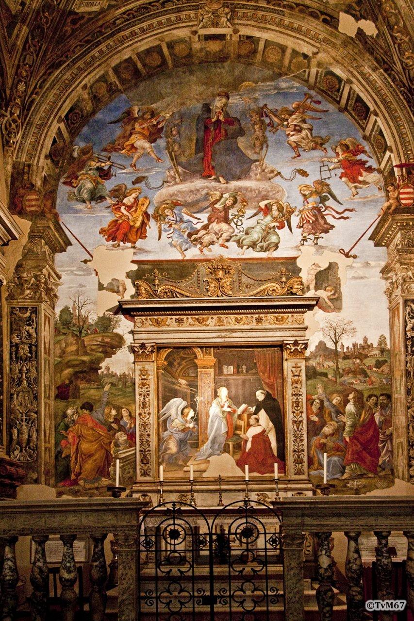 Roma, Chiesa di Santa Maria sopra Minerva, Cappella Carafa, Lippi, fresco's tegen de achterwand