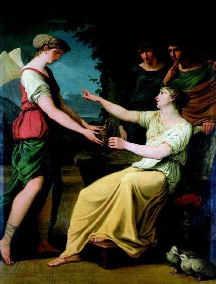 Roma, Palazzo Altieri, Felice Giani, Venus beveelt Psyche een kruik mirakelwater uit de Styx te gaan halen (internet)