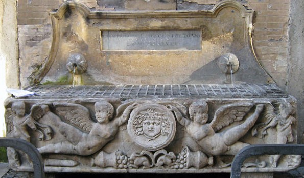 Roma, Palazzo Altieri, fontein tegen de achtergevel, voorheen op binnenplaats (internet)