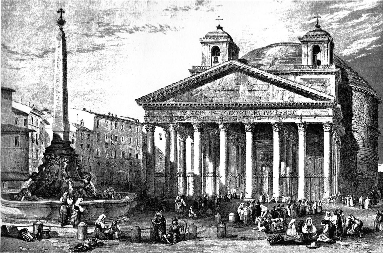 Roma, Pantheon, 1835 met ezelsoren (internet)