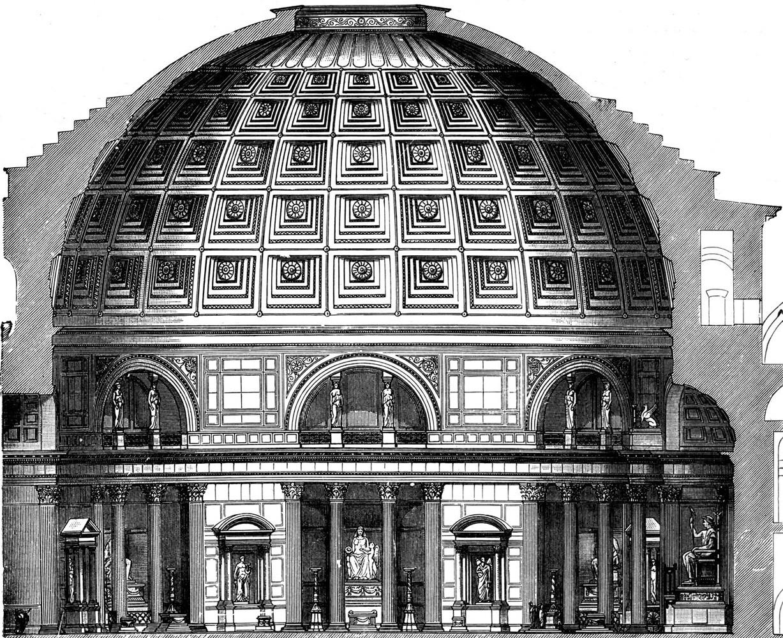 Roma, Pantheon, Dwarsdoorsnede 1 (internet)