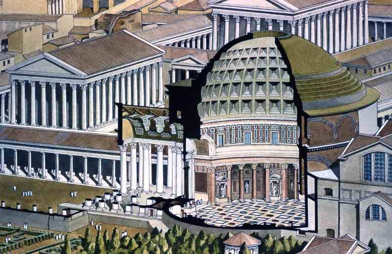 Roma, Pantheon, Dwarsdoorsnede 3 (internet)