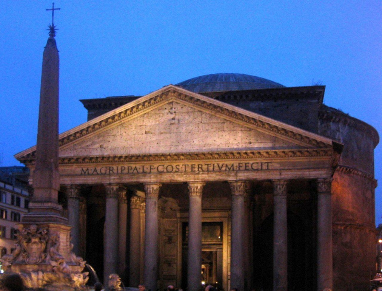 Roma, Pantheon, Gevel bij nacht (internet)