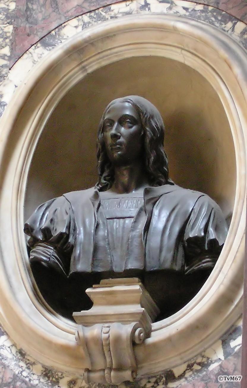 Roma, Pantheon, Graf van Rafael, buste links boven graf (internet)