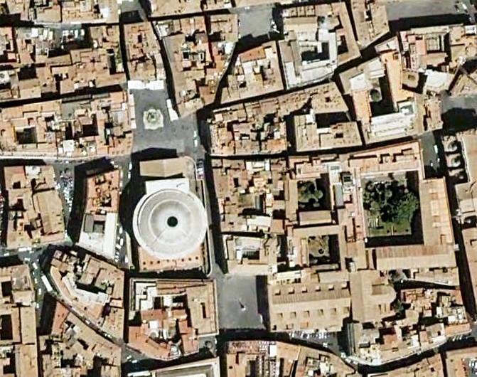 Roma, Pantheon en Piazza Rotonda, Satellietfoto (internet)