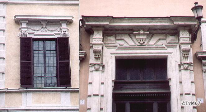 Palazzo Crescenzi (raam) en Palazzo Melchiorri (portaal) **
